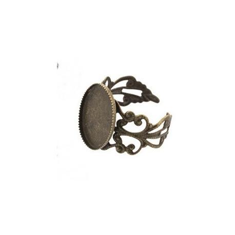 Под античную бронзу, заготовка для кольца 13х18мм 2шт, латунь Zlatka