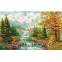 Горный водопад, набор для вышивания крестиком 41х26см 40цветов Алиса