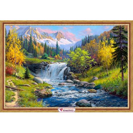 Горный ручей, набор для изготовления картины стразами 60х40см 42цв. полная выкладка АЖ