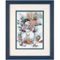 Снеговик и друзья, набор для вышивания крестиком, 13х18см, 32цвета Dimensions