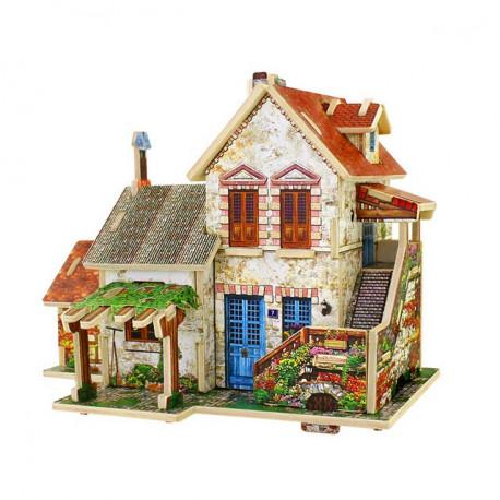 Ферма. Домик Франции пазл 3D, фанера с нанесенным рисунком 3мм 16,7x15x13см 44элемента Rezark