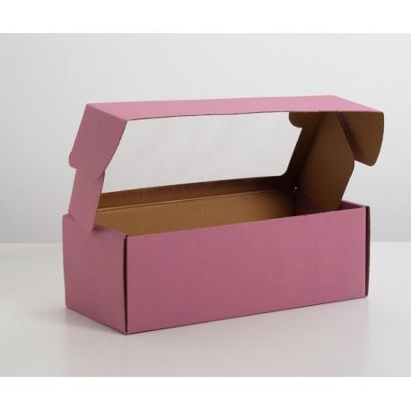 Коробка сиреневая с окошком, самосборная бесклеевая 16х35х12см АУ