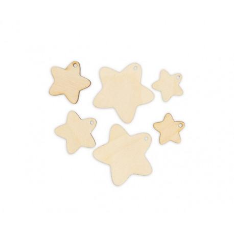 Звезды 6шт, заготовка для декорирования фанера 3мм 2-4см Mr.Carving