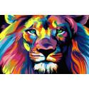 Радужный лев ДУБЛЬ, картина по номерам на холсте 20х30см 17цв Original