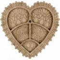 Сердце ажурное, органайзер для бусин и бисера с магнитом 5ячеек 14,5х14см фанера ВС