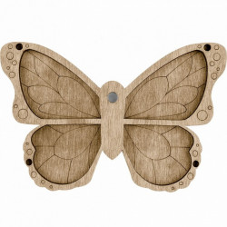 Бабочка, органайзер для бусин и бисера с магнитом 4ячейки 13,5х9см фанера ВС