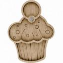 Кекс, органайзер для бусин и бисера с магнитом 3ячейки 8,5х11см фанера ВС