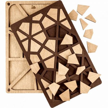 Геометрия, органайзер для бусин и бисера с деревянной крышкой 12ячеек 12х19,5см фанера ВС