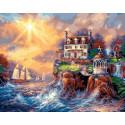 Дом на берегу, картина по номерам на холсте 40х50см 28цв Original
