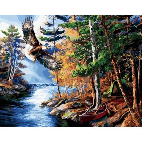 Орел над речкой, картина по номерам на холсте 40х50см 29цв Original