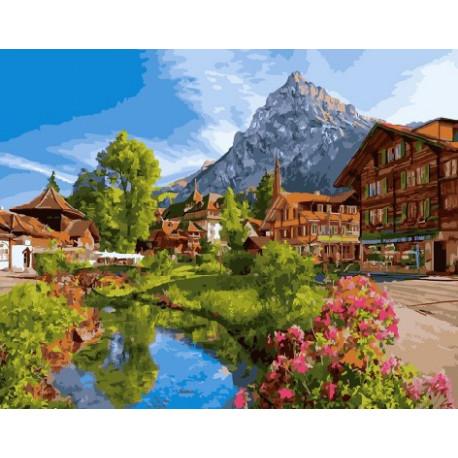 Отпуск в Швейцарии, картина по номерам на холсте 40х50см 29цв Original