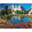 Горные цветы у озера, картина по номерам на холсте 40х50см 26цв Original