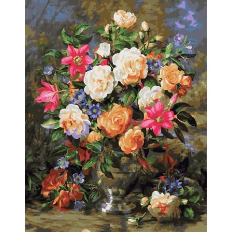 Розы и лилии, картина по номерам на холсте 40х50см 27цв Original