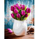 Тюльпаны в белом кувшине, картина по номерам на холсте 40х50см 28цв Original
