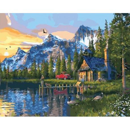 Выходные в лесном домике, картина по номерам на холсте 40х50см 28цв Original