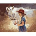 Девочка с лошадкой, картина по номерам на холсте 40х50см 27цв Original