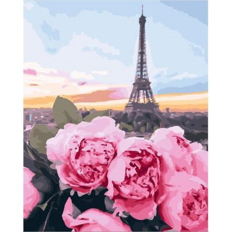 Цветы в Париже, картина по номерам на холсте 40х50см 29цв Original
