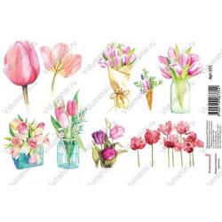 Тюльпаны акварельные, водорастворимая бумага с картинками 17х12см