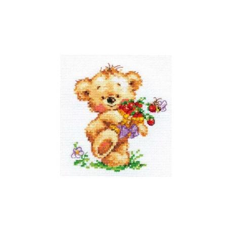 Мишутка-сластена, набор для вышивания крестиком 11х12см 18цветов Алиса