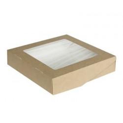 Крафт, коробка горизонтальная с окошком 20х20х4см