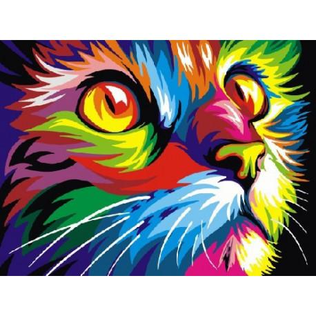 Радужный кот Ваю Ромдони, картина по номерам на холсте 30х40см 17цв Original