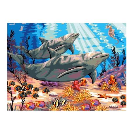 Красочный мир дельфинов, раскраска по номерам на холсте ...