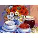 Чай с малиновым вареньем, картина по номерам на холсте 30х40см 20цв Original