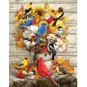 Цветное ассорти и лесные птахи, картина по номерам на холсте 40х50см 27цв Original