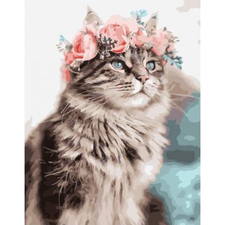 Весенний кот, картина по номерам на холсте 40х50см 25цв Original