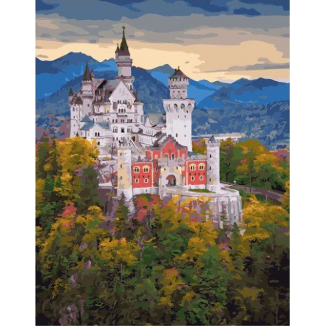 Баварский замок, картина по номерам на холсте 40х50см 28цв Original