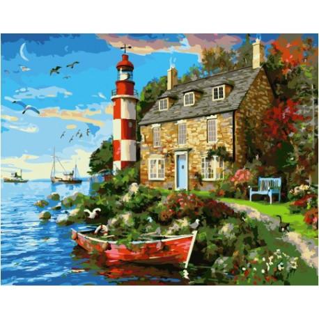 Дом смотрителя маяка, картина по номерам на холсте 40х50см 29цв Original