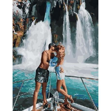Водопады любви, раскраска по номерам на холсте 40х50см ...