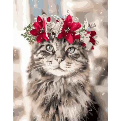 Новогодний кот, картина по номерам на холсте 40х50см 24цв Original