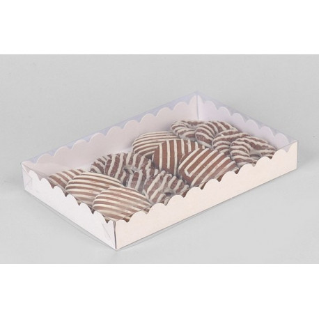 Белая, коробка с прозрачной крышкой 22х15х3см SL