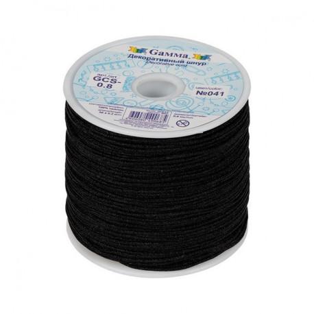 Черный, шнур декоративный 0,8мм 100% нейлон 1м. Gamma
