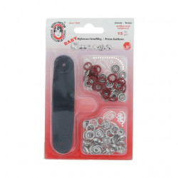 Кнопки рубашечные Baby с установщиком цв.красный, 9,7мм, 15шт