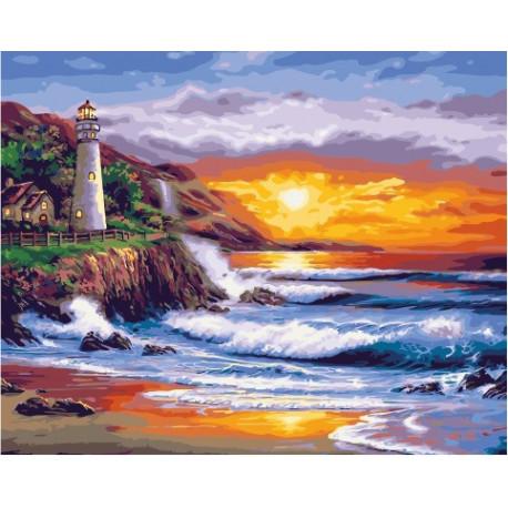 Закат у маяка, раскраска по номерам на холсте 40х50см 29цв ...