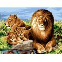 Львиная семья, картина по номерам на холсте 30х40см 19цв Original