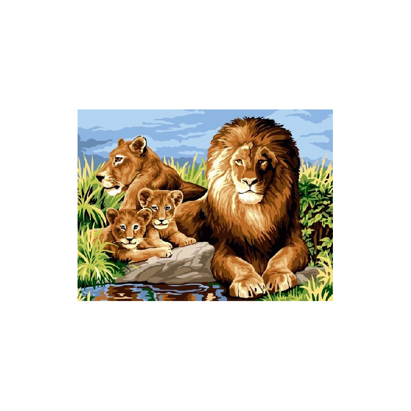 Львиная семья, раскраска по номерам на холсте 30х40см 19цв ...