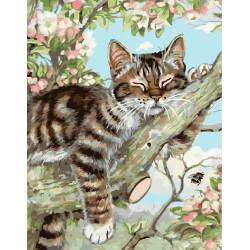 Котенок на ветке, раскраска по номерам на холсте 40х50см 28цв Планета Картин