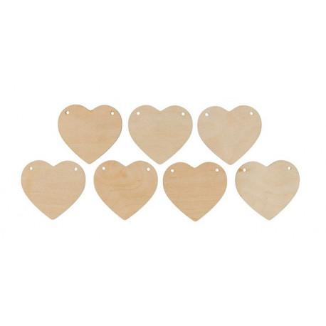 Гирлянда из сердец №1(7шт), заготовка для декорирования фанера 3мм 6х6,5cм Mr.Carving