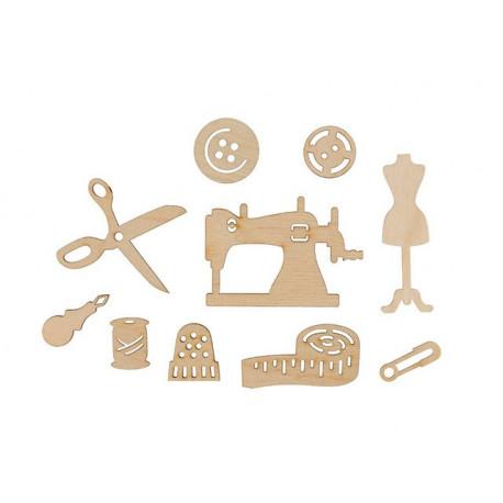 Швейный набор(10шт), заготовка для декорирования фанера 3мм 2-6cм Mr.Carving