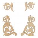 Вензель №3(4шт), заготовка для декорирования фанера 3мм 3-5,4cм Mr.Carving