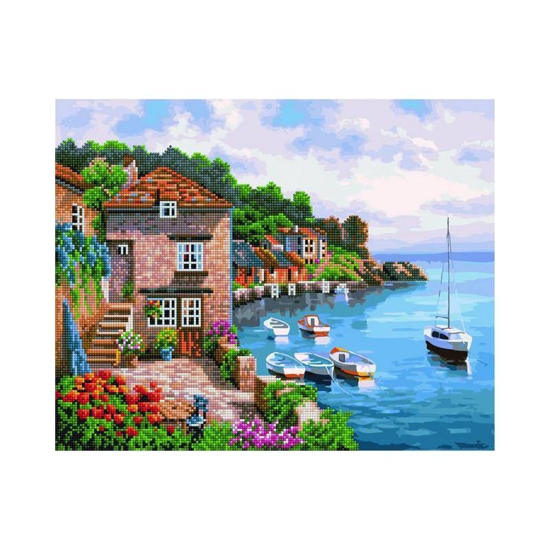 Морской воздух, раскраска по номерам+мозаика на холсте ...