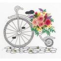 Букет на колесах, набор для вышивания гладью с элементами объемной вышивки 16,5х15см 10цв Panna