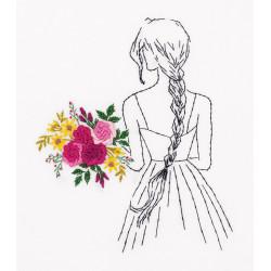 Девушка с букетом, набор для вышивания гладью с элементами объемной вышивки, 15х17,5см, 10цв Panna