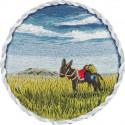 Брошь. Ослик в прерии, набор для вышивания гладью 5,5х5,5см 14цветов Panna