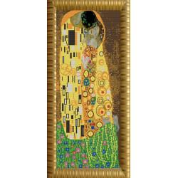 Поцелуй Густав Климт, ткань с рисунком для вышивки бисером 25х65см. Конёк