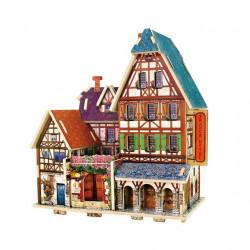 Отель. Домик Франции, пазл 3D, фанера с нанесенным рисунком 3мм 16,5x12,9x18см 33элемента. Rezark