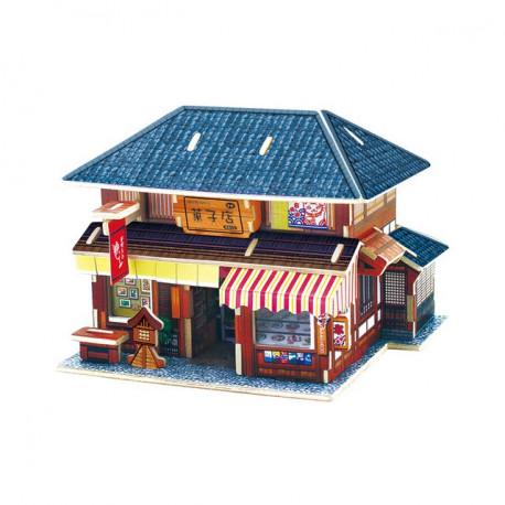 Кондитерская. Домик Японии пазл 3D, фанера с рисунком 3мм 14,5x13,7x11,4см 36элементов Rezark